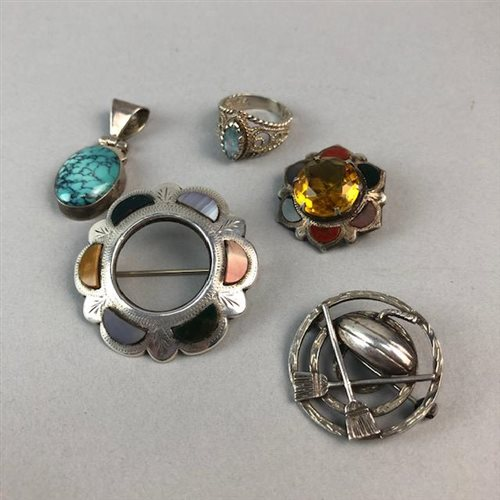 Lot 18-A SILVER CURLING BROOCH AND OTHER JEWELLERY