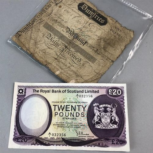 Lot 19-A 1805 DUMFRIES ONE GUINEA NOTE