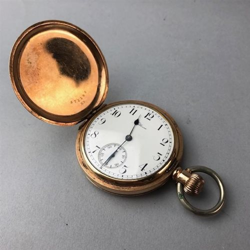 Lot 27-A WALTHAM GOLD PLATED FULL HUNTER POCKET WATCH