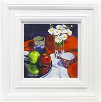 Lot 690 - COMPOSITION WITH FRUIT AND FLOWERS, AN OIL BY FRANK COLCLOUGH