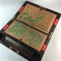 Lot 33-A ROSEWOOD OBLONG PORTABLE WRITING BOX