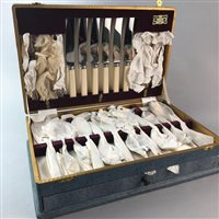 Lot 40-A CANTEEN OF CUTLERY, FOUR PLATED NAPKIN RINGS AND OTHER COLLECTABLES