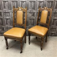 Lot 66-A SET OF FOUR OAK DINING CHAIRS