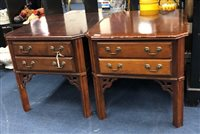 Lot 70-A PAIR OF MAHOGANY BEDSIDE CHESTS