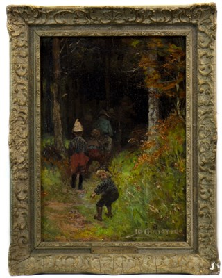 Lot 403-CHILDREN IN A FOREST SETTING, AN OIL BY JAMES ELDER CHRISTIE