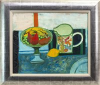 Lot 708 - STILL LIFE (RED PEAR AND LEMON), AN OIL BY DAVID MCLEOD MARTIN