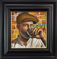 Lot 615 - THE WHISKY LOVER, AN OIL BY GRAHAM MCKEAN