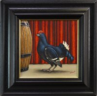 Lot 633 - BLACK GROUSE, AN OIL BY GRAHAM MCKEAN