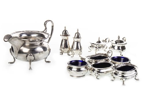 Lot 845-A SILVER CRUET SET AND A SILVER SAUCE BOAT