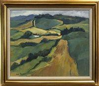 Lot 712 - RENFREWSHIRE FIELDS,, AN OIL BY JEAN GARDNER