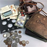 Lot 42-A COLLECTION OF COINS, TWO ALBUMS OF CIGARETTE CARDS AND TWO CAMERAS