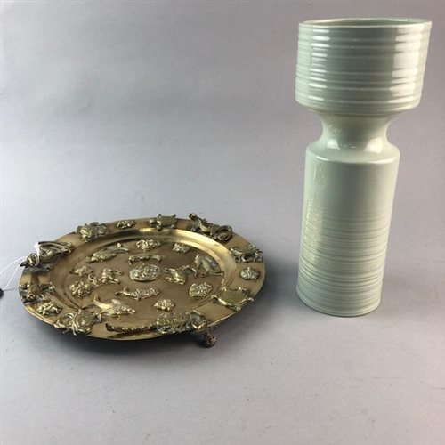 Lot 44-AN INDIAN BRASS DISH AND A BESWICK VASE