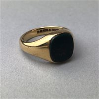 Lot 1-A NINE CARAT GOLD SIGNET RING, A PAIR OF STUDS AND STICK PINS