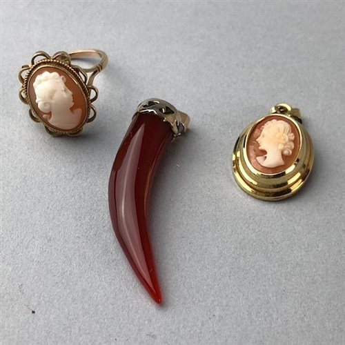 Lot 6-A CAMEO DRESS RING, CAMEO PENDANT AND ANOTHER PENDANT