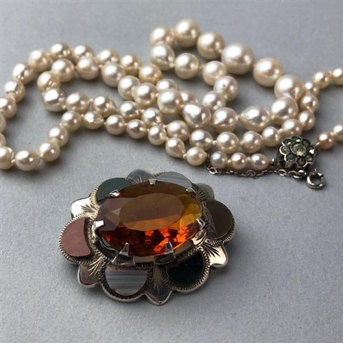 Lot 3-A SCOTTISH AGATE AND SILVER BROOCH, FOUR LOCKETS AND A PEARL NECKLACE