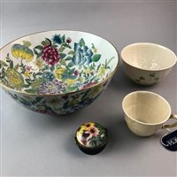 Lot 48-A CHINESE BOWL, PILL BOX AND A BELLEEK BOWL AND CUP