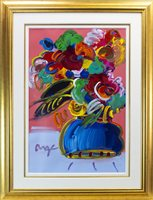 Lot 715 - FLOWERS, A MIXED MEDIA BY PETER MAX