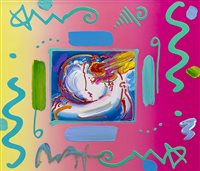 Lot 717 - I LOVE THE WORLD, A MIXED MEDIA COLLAGE BY PETER MAX