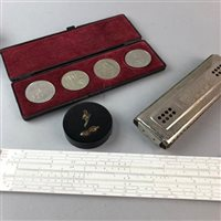 Lot 49-A ZEISS IKON CAMERA, ARISTO RULER, TWO HARMONICAS AND COINS