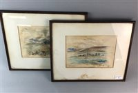 Lot 52-A PAIR OF WATERCOLOURS AND A SPLIT CANE FISHING ROD