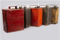 Lot 13-FIVE ESSO AND SHELL PETROL CANS