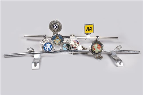 Lot 18-COLLECTION OF VEHICLE BADGES AND MOUNTING BARS