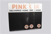 Lot 25-THREE 'PINK' PARAFFIN CHALKBOARD SIGNS
