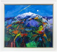 Lot 576-THE HILLSIDE IN ANDALUSIA, AN ACRYLIC BY SHELAGH CAMPBELL