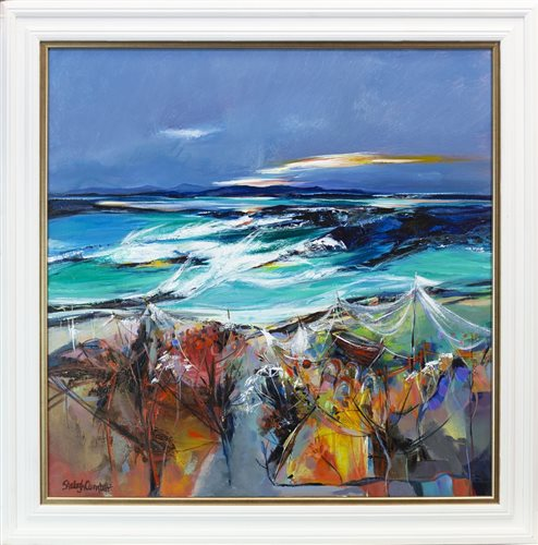 Lot 646 - STORMTIDE, ERISKAY, AN ACRYLIC BY SHELAGH CAMPBELL