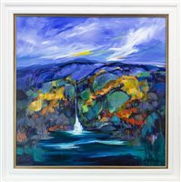 Lot 725 - THE FALLS OF  ASSYNT, AN ACRYLIC BY SHELAGH CAMPBELL