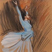 Lot 727 - STUDY FOR BALLET NO 1, A PASTEL BY GERARD BURNS