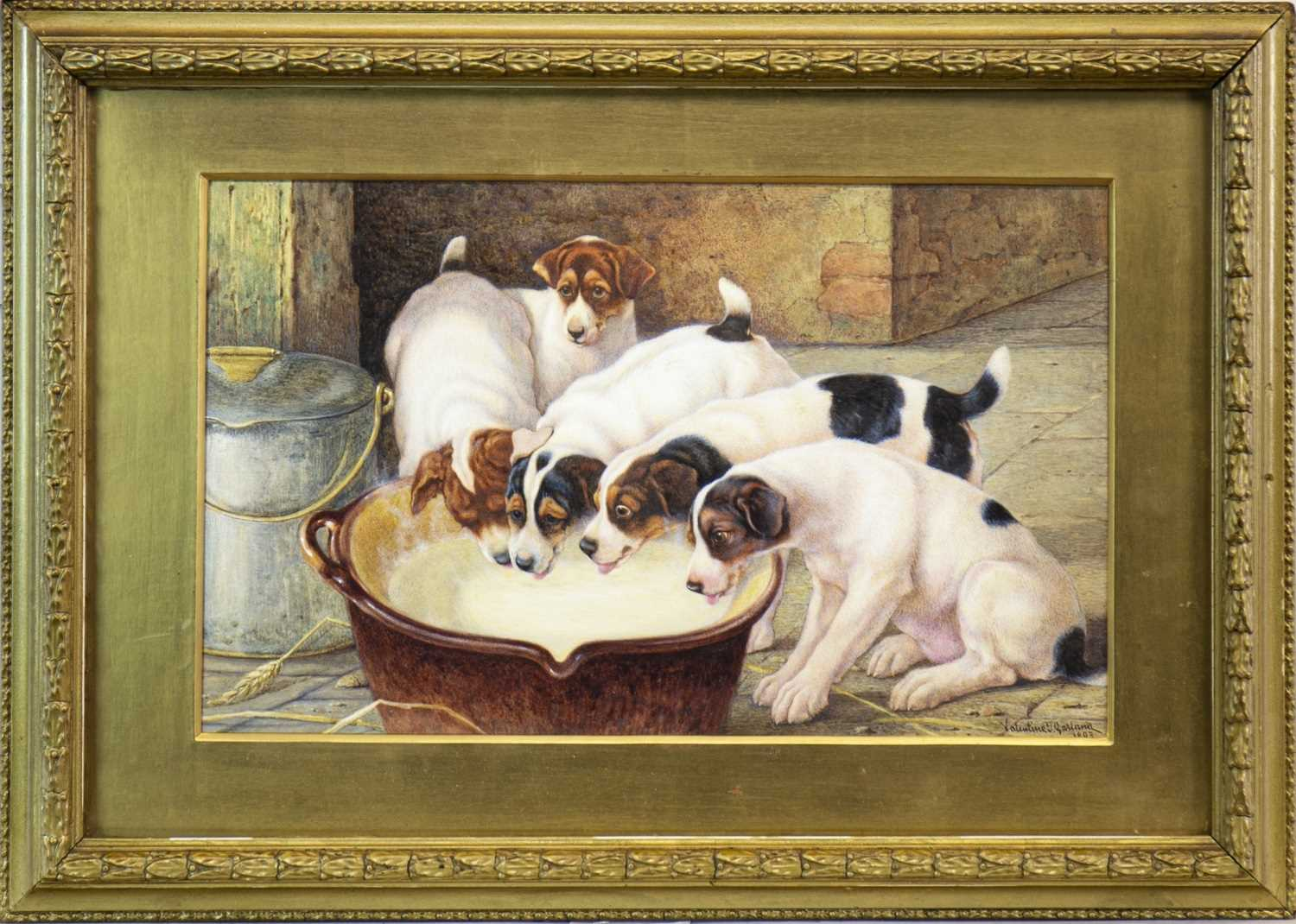 Lot 466-DRINK, PUPPY, DRINK, A WATERCOLOUR BY VALENTINE GARLAND