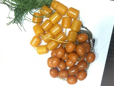 Lot 50-A BEAD NECKLACE AND A SET OF PRAYER BEADS