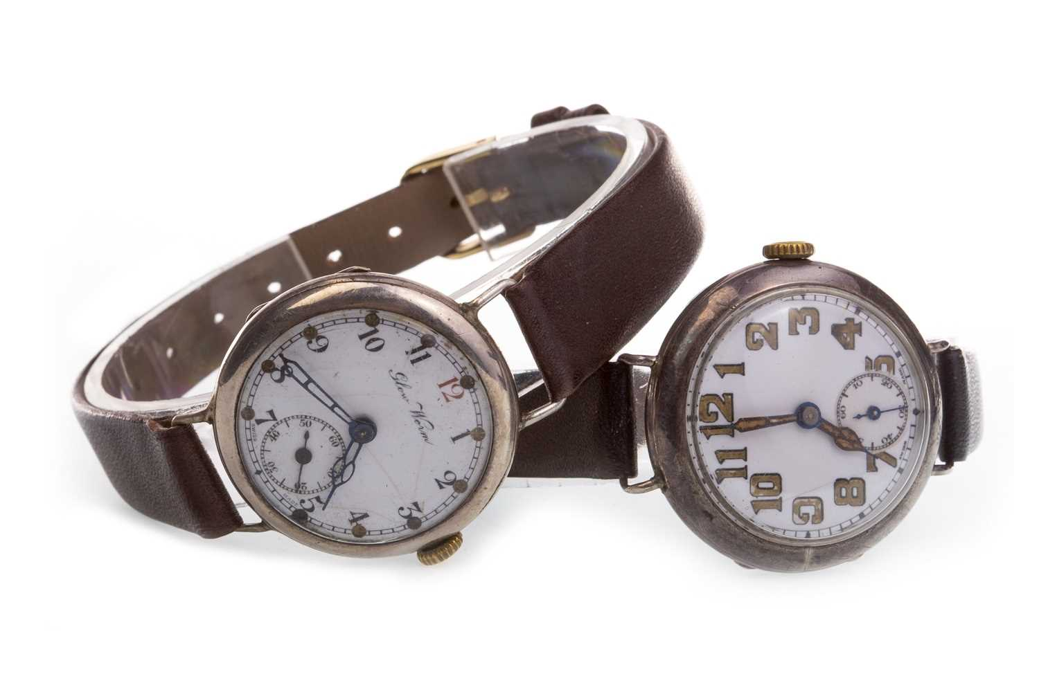 Lot 771-TWO SILVER TRENCH WATCHES