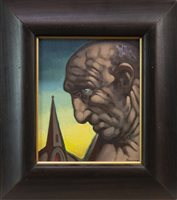 Lot 537-SUNDAY SERVICE, AN OIL BY PETER HOWSON