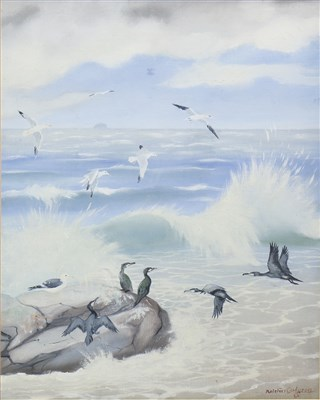 Lot 406-CORMORANTS AND SEAGULLS, AN OIL BY RALSTON GUDGEON