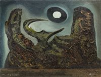 Lot 732 - THE STIFLED PLANET, AN OIL BY ALLY THOMPSON