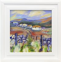 Lot 744 - WEE CROFTS AT ELGOL, AN ACRYLIC BY HELEN MDONALD MATHIE