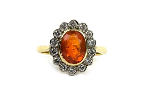 Lot 1-A FIRE OPAL AND DIAMOND CLUSTER RING