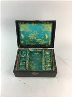 Lot 32-A CHINESE LACQUER WOOD JEWELLERY BOX, SUGAR BOWL AND TEA CADDY