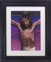 Lot 750 - JESUS ON THE CROSS, A PASTEL BY FRANK MCFADDEN