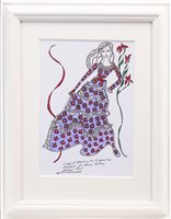 Lot 756 - ORIGINAL ILLUSTRATION OF DESIGNS FOR LAURA ASHLEY, PEN ON CARD BY ROZ JENNINGS