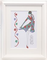 Lot 603-ORIGINAL ILLUSTRATION OF DESIGNS FOR LAURA ASHLEY, PEN ON CARD BY ROZ JENNINGS