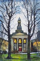 Lot 765 - BETWEEN TREES, DERBY STREET, A WATERCOLOUR BY BRYAN EVANS