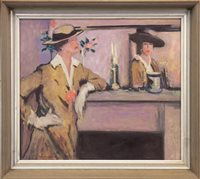 Lot 766 - LADY BY MIRROR, AN OIL BY TOM FLANAGAN
