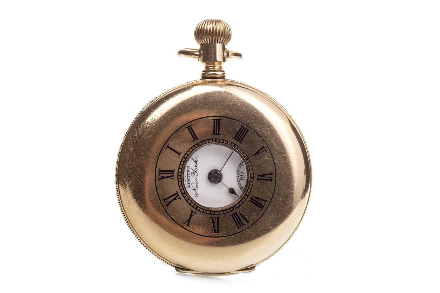 Lot 767-A GOLD PLATED HALF HUNTER POCKET WATCH