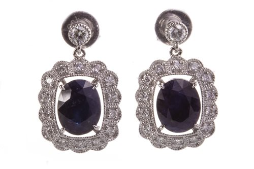 Lot 39-A PAIR OF SAPPHIRE AND DIAMOND DROP EARRINGS
