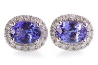 Lot 52-A PAIR OF TANZANITE AND DIAMOND STUD EARRINGS