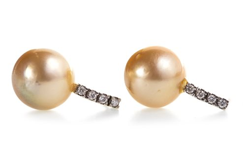 Lot 57-A PAIR OF PEARL AND DIAMOND EARRINGS