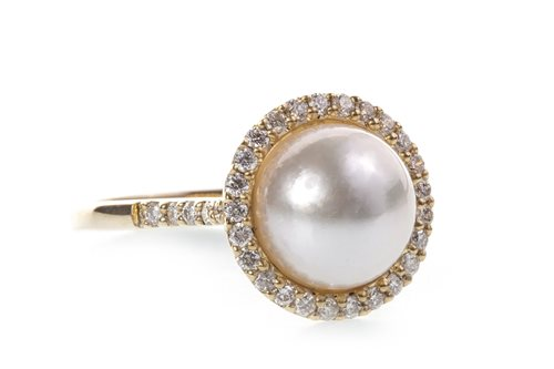 Lot 61-A PEARL AND DIAMOND RING